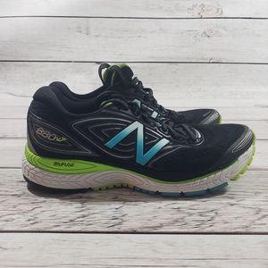 New balance black green white running tennis shoes